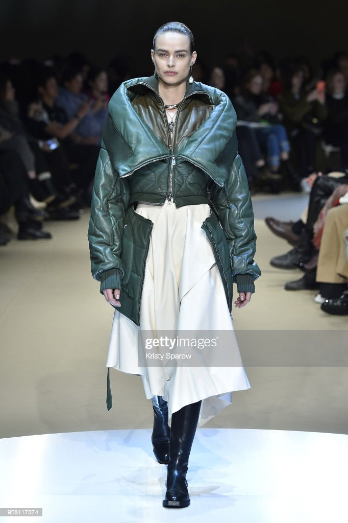 Birgit Kos walks the runway during the Alexander McQueen show as part of Paris Fashion Week Womenswear Fall/Winter 2018/2019 on March 5, 2018 in Paris, France.