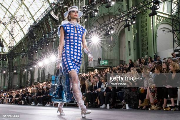 Birgit Kos walks the runway during the Chanel Paris show as part of the Paris Fashion Week Womenswear Spring/Summer 2018 on October 3 2017 in Paris...