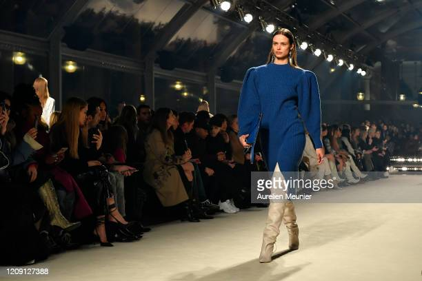 Birgit Kos walks the runway during the Isabel Marant show as part of the Paris Fashion Week Womenswear Fall/Winter 2020/2021 on February 27, 2020 in...