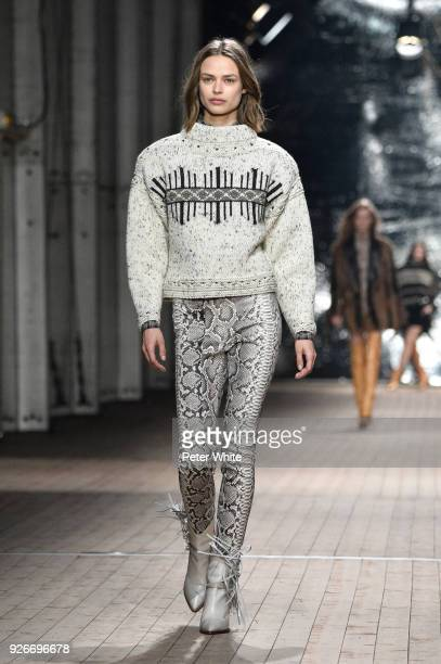 Birgit Kos walks the runway during the Isabel Marant show as part of the Paris Fashion Week Womenswear Fall/Winter 2018/2019 on March 1 2018 in Paris...