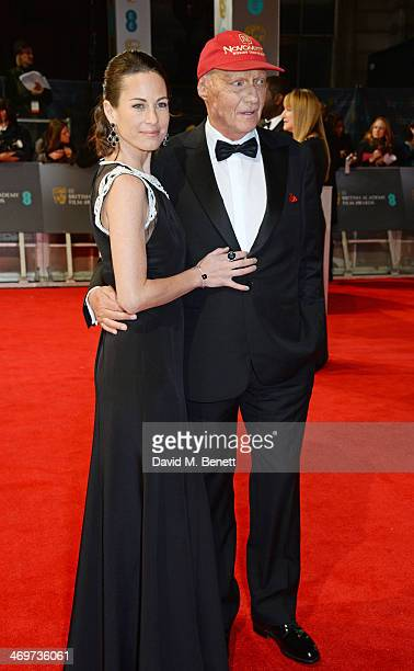 Birgit Lauda and Niki Lauda attend the EE British Academy Film Awards 2014 at The Royal Opera House on February 16 2014 in London England