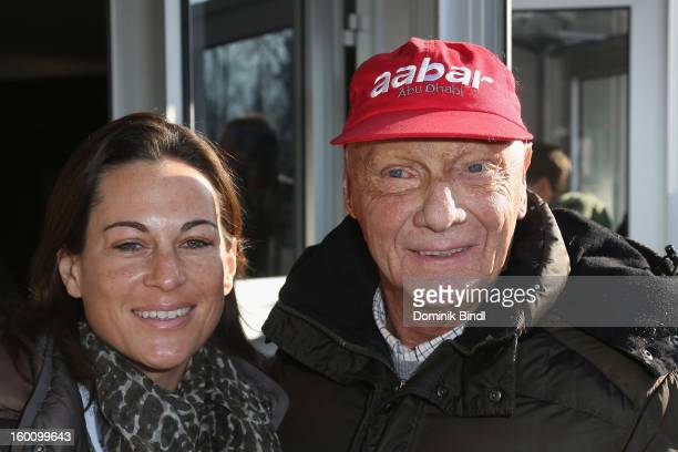 Birgit Lauda and Niki Lauda attend the Hahnenkamm Race on January 26 2013 in Kitzbuehel Austria