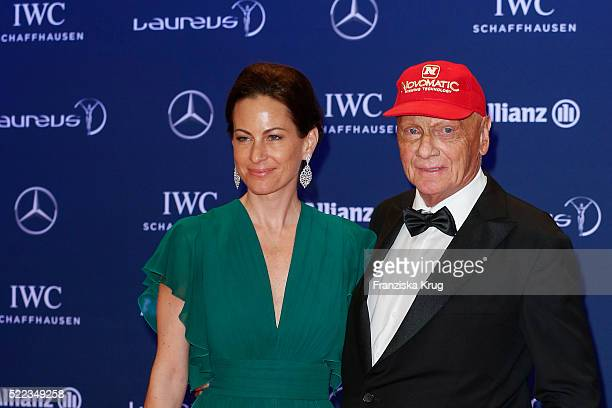 Birgit Lauda and Niki Lauda attend the Laureus World Sports Awards 2016 at the Messe Berlin on April 18 2016 in Berlin Germany