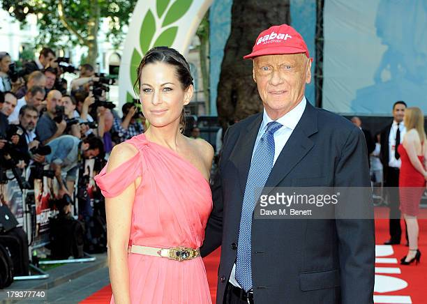 Birgit Lauda and Niki Lauda attend the World Premiere of 'Rush' at Odeon Leicester Square on September 2 2013 in London England