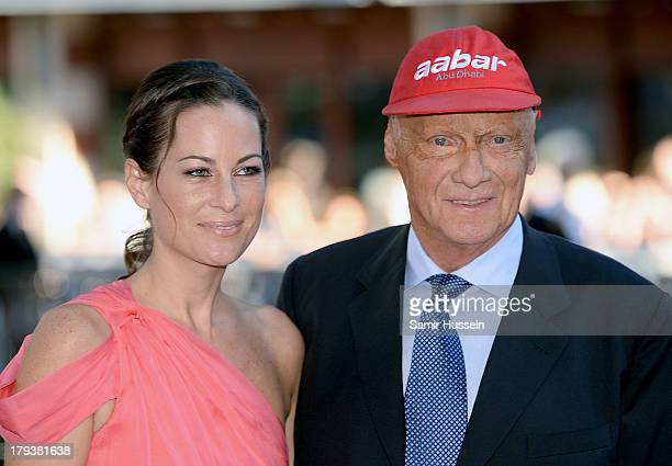 Birgit Lauda and Niki Lauda attends the Rush World Premiere at Odeon Leicester Square on September 2 2013 in London England