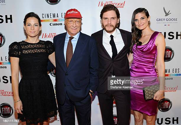 Birgit Lauda former Formula One racing driver Niki Lauda actor Daniel Brühl and Felicitas Rombold at the Grey Goose vodka cohosted party for Rush on...