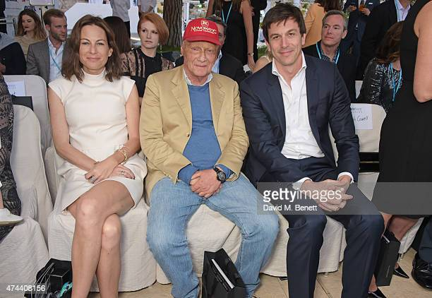 Birgit Lauda Niki Lauda and Toto Wolff attend the Amber Lounge 2015 Charity Fashion Show in benefit of Autism Rocks at Le Meridien Beach Plaza Hotel...