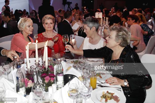 Birgit Lechtermann Andrea Spatzek Cheryl Shepard and MarieLuise Marjan during the Gloria Deutscher Kosmetikpreis at Hilton Hotel on March 9 2018 in...