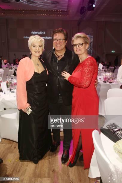 Birgit Lechtermann Francis FultonSmith and Andrea Spatzek attend the Gloria Deutscher Kosmetikpreis at Hilton Hotel on March 9 2018 in Duesseldorf...