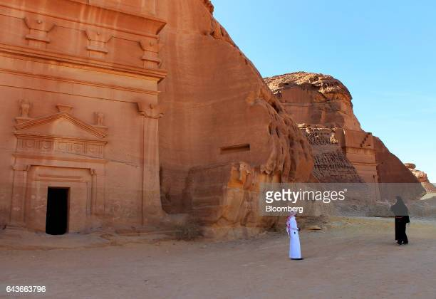 Birgit Mitchell an American tourist right visits Mada'in Saleh a UNESCO World Heritage Site with her guide in Mada'in Saleh Saudi Arabia on Tuesday...