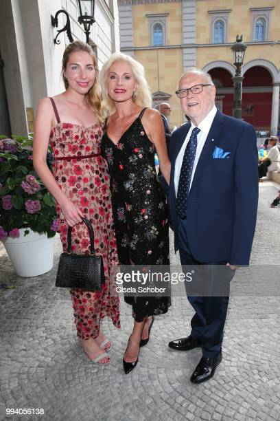 Birgit Muth and his daughter Caroline Diekmann and her partner Joseph Vilsmaier during the 'Oper fuer alle Parsifal' as part of the Munich Opera...