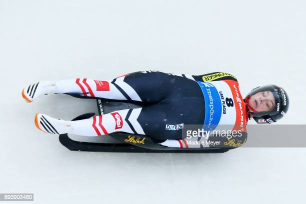 Birgit Platzer of Austria completes her second run in the Women's competition of the Viessmann FIL Luge World Cup at Lake Placid Olympic Center on...