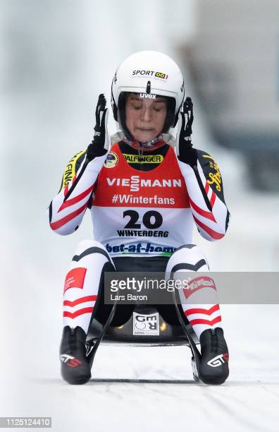 Birgit Platzer of Austria reacts after the final run of the Luge World Championships Women Race at Veltins Eis-Arena on January 26, 2019 in...