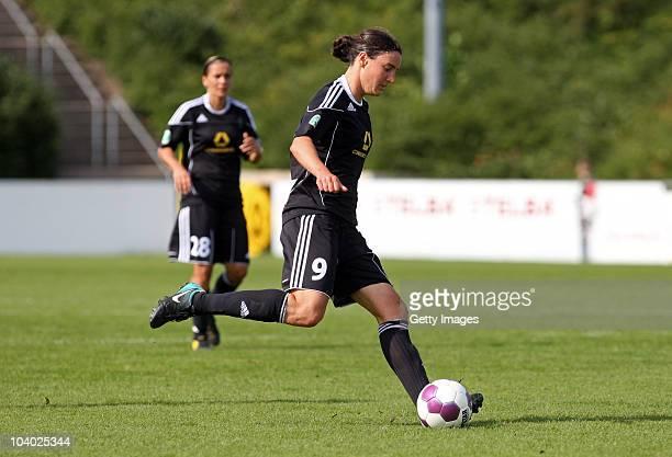Birgit Prinz of Frankfurt runs with the ball during the Women's bundesliga match between FCR Duisburg and FFC Frankfurt at the PCCStadium on...