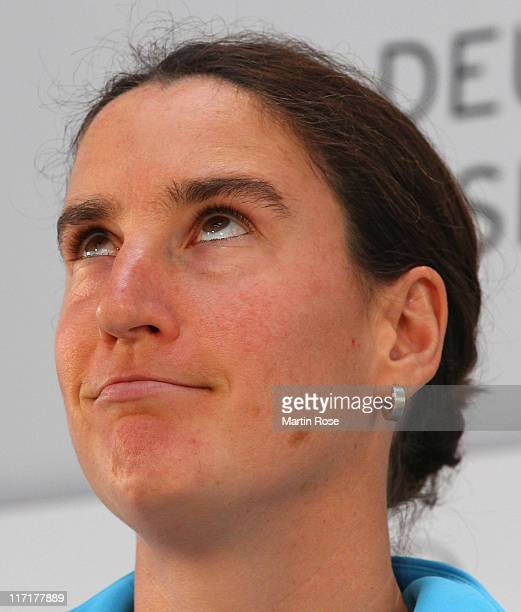 Birgit Prinz of Germany attends the Germany Women national team press conference at Mercedes Welt Berlin on June 24 2011 in Berlin Germany