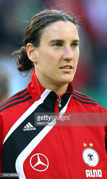 Birgit Prinz of Germany poses prior to the Women's International Friendly match between Germnay and Canada at Rudolf Harbig stadium on September 15,...