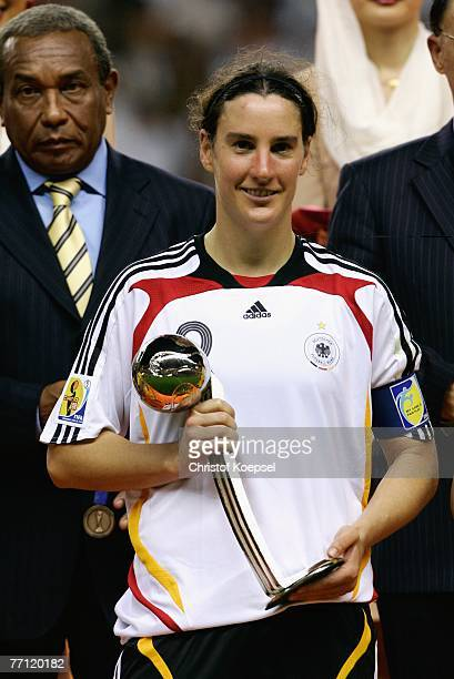 Birgit Prinz of Germany won the adidas silver ball after the Women's World Cup 2007 final match between Brazil and Germany at the Shanghai Hongkou...