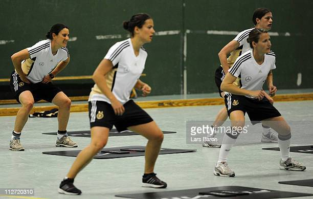 Birgit Prinz trains with team mates during a German Women National Team training session at NetCologne Stadium on April 20 2011 in Cologne Germany