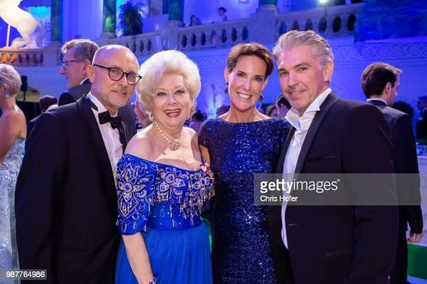 Birgit Sarata with guest Kathi Stumpf and Alexander Beza during the Fete Imperiale 2018 on June 29 2018 in Vienna Austria