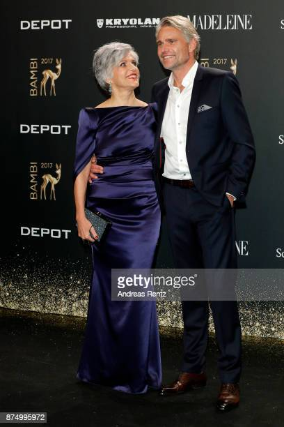 Birgit Schrowange and Frank Spothelfer arrive at the Bambi Awards 2017 at Stage Theater on November 16 2017 in Berlin Germany