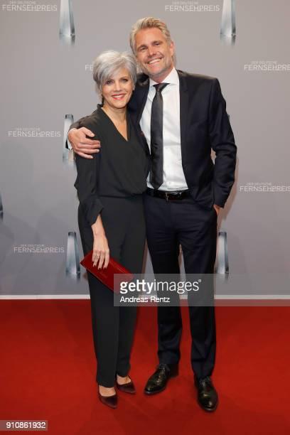 Birgit Schrowange and her boyfriend Frank Spothelfer attend the German Television Award at Palladium on January 26 2018 in Cologne Germany