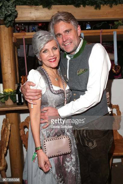 Birgit Schrowange and her boyfriend Frank Spothelfer during the 27th Weisswurstparty at Hotel Stanglwirt on January 19 2018 in Going near Kitzbuehel...