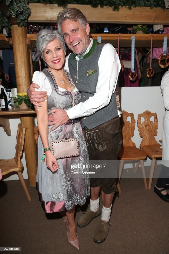 Birgit Schrowange and her boyfriend Frank Spothelfer during the 27th Weisswurstparty at Hotel Stanglwirt on January 19, 2018 in Going near Kitzbuehel Austria.