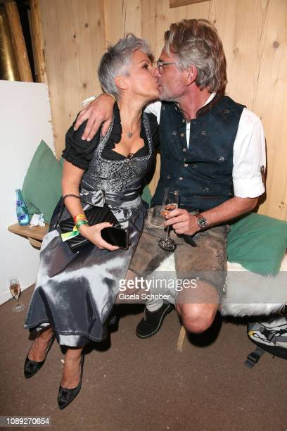 Birgit Schrowange and her partner Frank Spothelfer during the 28th Weisswurstparty at Hotel Stanglwirt on January 25 2019 in Going near Kitzbuehel...
