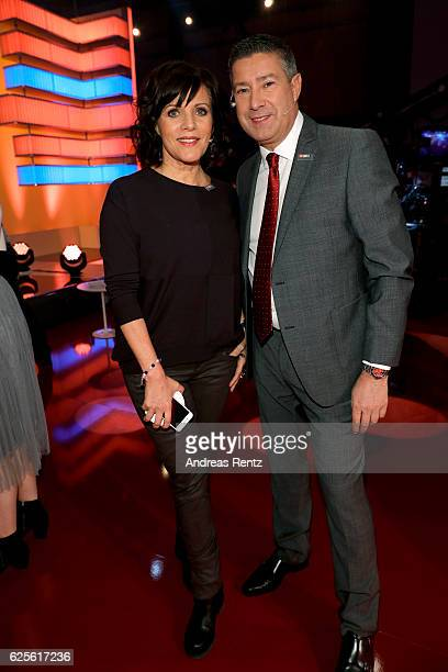 Birgit Schrowange and Joachim Llambi are seen in the studio of the RTL Telethon TV show on November 24 2016 in Cologne Germany The telethon is held...