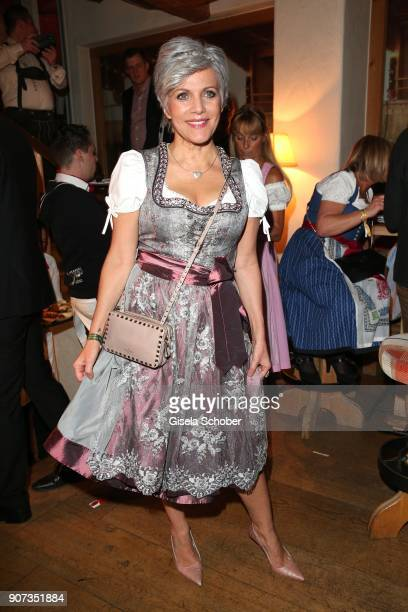 Birgit Schrowange during the 27th Weisswurstparty at Hotel Stanglwirt on January 19 2018 in Going near Kitzbuehel Austria