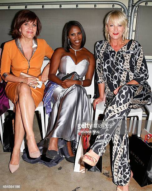 Birgit Schrowange Motsi Mabuse and Ulla Kock am Brink attend the Blurry Garden Couture Collection Presentation in a nuclear bunker on September 03...
