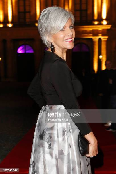Birgit Schrowange wearing a dress by Minx during the Minx Fashion Night in favour of 'Sauti Kuu' of Auma Obama at Wuerzburger Residenz on September...