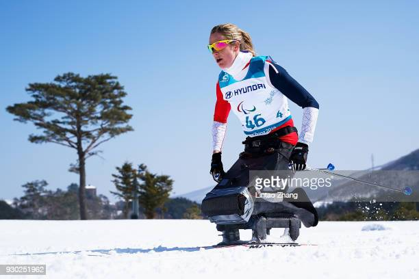 Birgit Skarstein of Norway competes in the Women's Cross Country 12km Sitting event at Alpensia Biathlon Centre during day two of the PyeongChang...