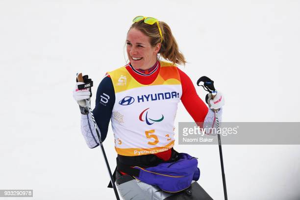 Birgit Skarstein of team Norway is seen in the finish area after completing the 4x25km mixed relay crosscountry during day nine of the PyeongChang...