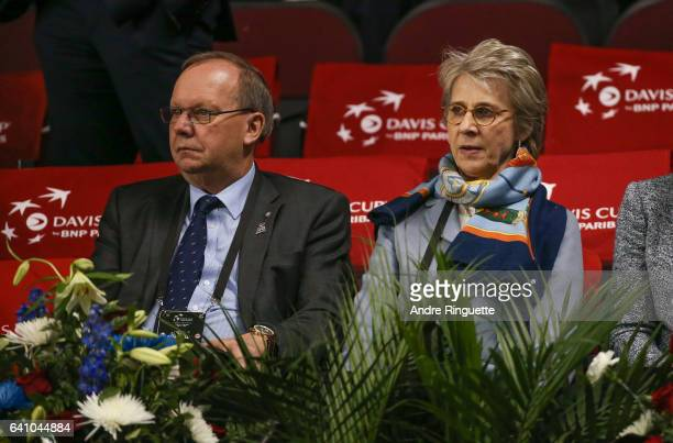 Birgitte Duchess of Gloucester and David Rawlinson attend the singles matches during day one of the Davis Cup World Group tie between Great Britain...