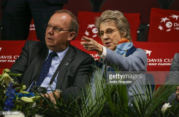 Birgitte Duchess of Gloucester and David Rawlinson talk as they attend the singles matches during day one of the Davis Cup World Group tie between...