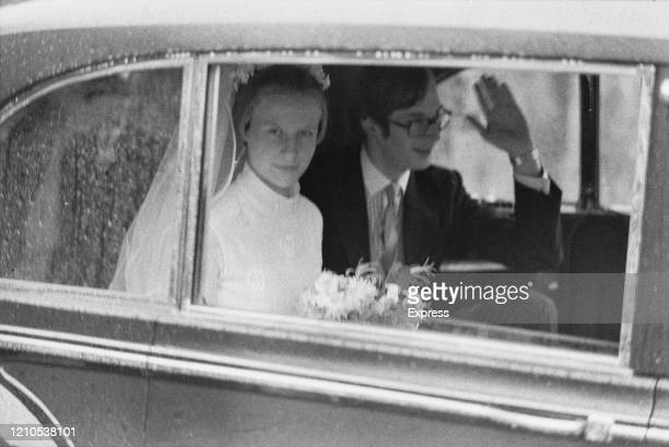 Birgitte, Duchess of Gloucester and Prince Richard, Duke of Gloucester in the wedding car following their wedding ceremony in St Andrew's Church at...