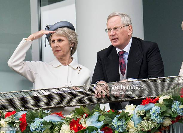Birgitte, Duchess of Gloucester and Prince Richard, Duke of Gloucester watch the racing at The Investec Derby Festival at Epsom Racecourse on June 1,...
