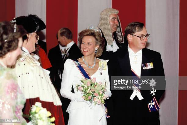Birgitte Duchess of Gloucester and Prince Richard Duke of Gloucester at Claridges Hotel for a banquet hosted by Sheikh Zayed former president of the...