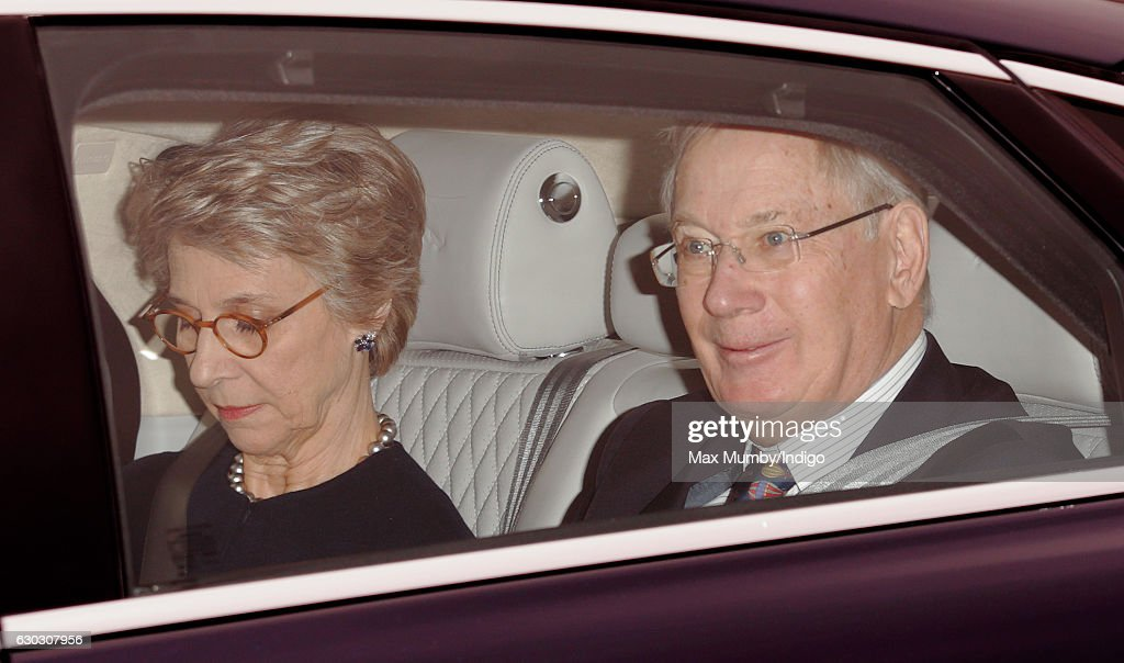 Birgitte, Duchess of Gloucester and Prince Richard, Duke of Gloucester attend a Christmas lunch for members of the Royal Family hosted by Queen Elizabeth II at Buckingham Palace on December 20, 2016 in London, England.