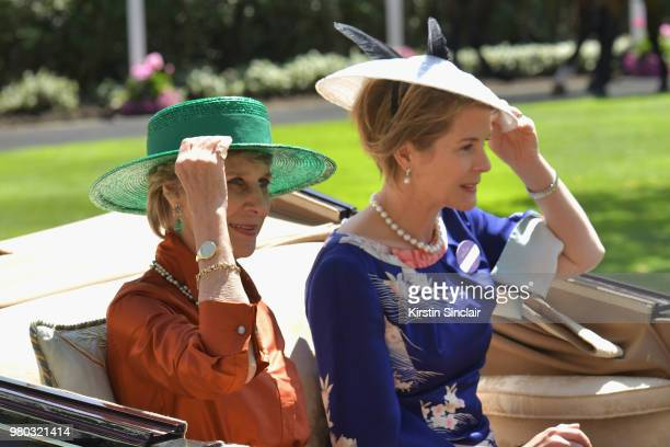Birgitte Duchess of Gloucester and Serena ArmstrongJones Countess of Snowdon arrive in the Royal procession on day 3 of Royal Ascot at Ascot...