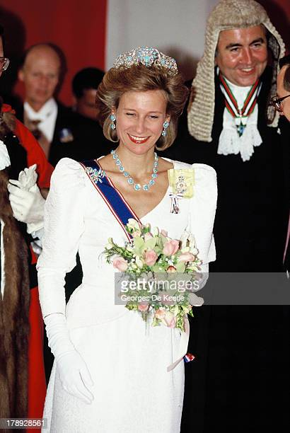 Birgitte, Duchess of Gloucester, at Claridges Hotel for a banquet hosted by Sheikh Zayed, former president of the United Arabian Emirates, as part of...