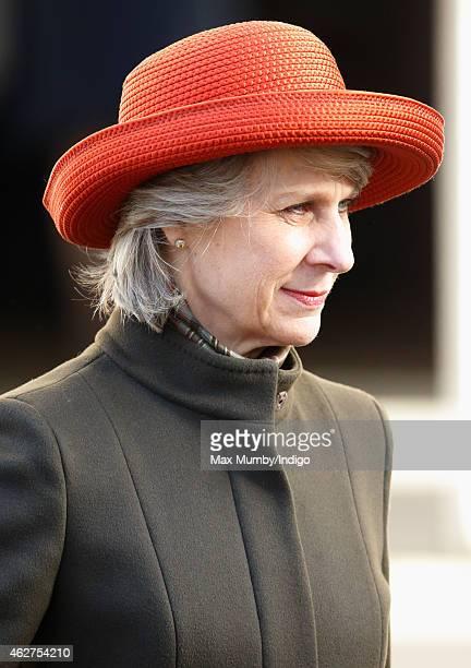 Birgitte Duchess of Gloucester attends a service of thanksgiving for the life of John SpencerChurchill 11th Duke of Marlborough at The Guards Chapel...