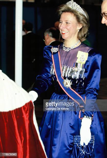 Birgitte, Duchess of Gloucester, attends a State Banquet on April 18, 1990 in London; England.