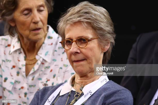Birgitte Duchess of Gloucester attends the during the singles match between Lucas Pouille of France and Kyle Edmund of Great Britain on day one of...