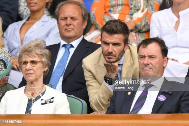 Birgitte Duchess of Gloucester David Beckham and Wimbledon Chairman Ph1ilip Brook on Centre Court during day eleven of the Wimbledon Tennis...
