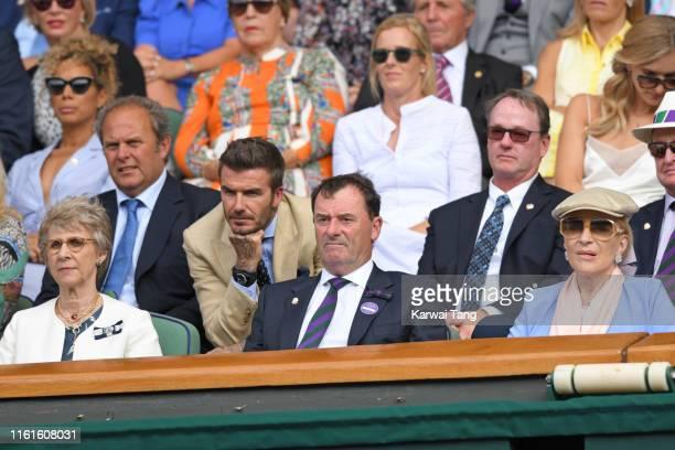 Birgitte, Duchess of Gloucester, David Beckham, Wimbledon Chairman Philip Brook and Princess Michael of Kent on Centre Court during day eleven of the...
