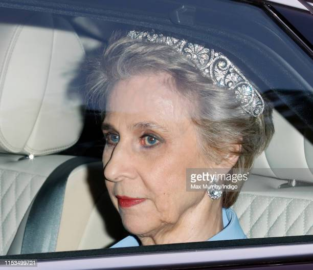 Birgitte, Duchess of Gloucester departs Kensington Palace to attend a State Banquet at Buckingham Palace on day 1 of US President Donald Trump's...