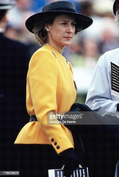 Birgitte Duchess of Gloucester during the Derby at Epsom racecourse on June 6 1990 in Epsom England