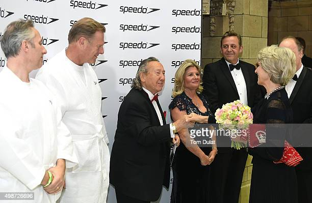 Birgitte Duchess of Gloucester greets Raymond Stoner Susie Freeman and David Robinson during the House of Commons v House of Lords Speedo Charity...